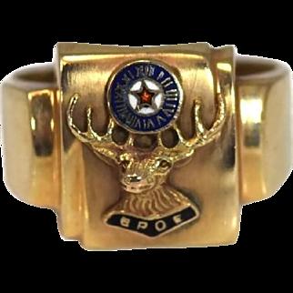 Vintage 10k Gold Order of Elks Enamel Signet Ring c1950s