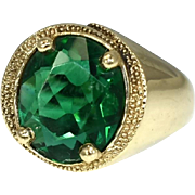 Art Deco Men's 10k Ring with Emerald  Green Cut Glass Faceted Stone Big Bold Setting