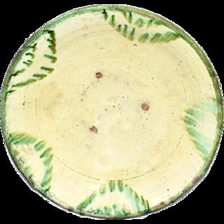 17th Century Earthenware Bowl Large with Green Splash Polychrome Glaze