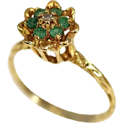 Vintage Emerald Diamond 10k Ring in High Profile Tulip Setting