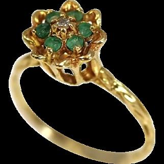 Vintage Emerald Diamond 10k Ring in High Profile Tulip Setting