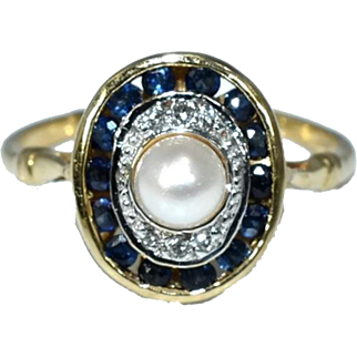 Vintage Sapphire Halo Ring 14k Plumb Gold with Pearl and Diamonds