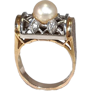 14k Pearl Diamond Lattice Ring Dome Setting Yellow and White Gold