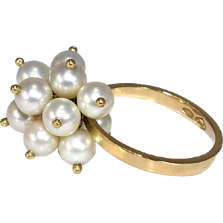 18k Dangle Pearl Cluster Ring Vintage