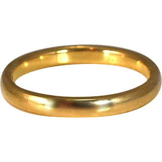 Vintage 18k Gold Wedding Band 2.5mm Art Deco Era