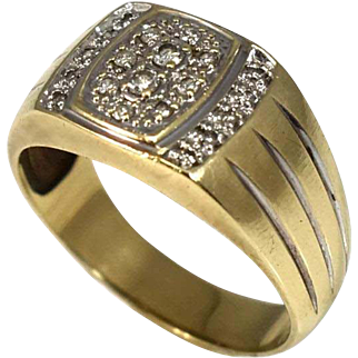 Vintage 10k Gold Diamond Ring for Men or Ladies