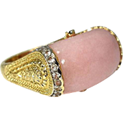 14k Etruscan Style Pink Peruvian Opal Ring over 10 cts