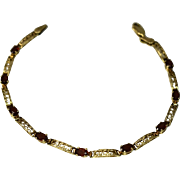 10k Gold Garnet Fancy Link Bracelet 2.07 ctw January Birthstone