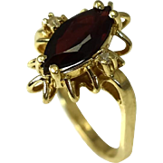 14k Gold Garnet and Diamond Ring Mid Century Design