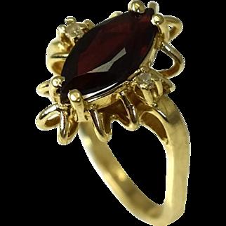 14k Gold Garnet and Diamond Ring Mid Century Design