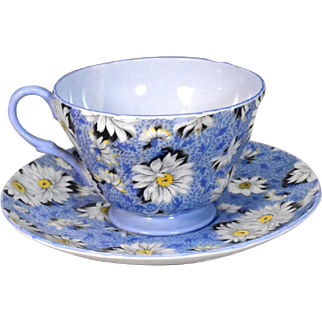 Shelley Blue Daisy Cup and Saucer Bone China Chintz 13451