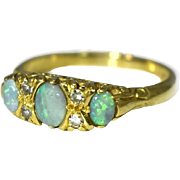 18k Three Stone Opal Ring with Diamond Accents English