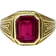 10k Art Deco Lab Ruby Ring Estate Men's Jewelry