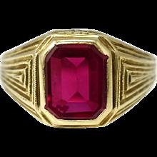 10k Art Deco Lab Ruby Ring Estate Men's Jewelry