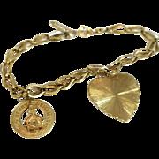 Vintage 14k Charm Bracelet Heart Christmas Gold Charms 10.3g