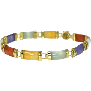 14k Multi Color Jade Bracelet 8 Inch
