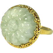 14k Celedon Carved Jade Ring Sunflower over 12 carats