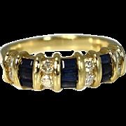 Estate Sapphire Baguette Diamond Ring 1.29 ctw Sapphire Wedding Band
