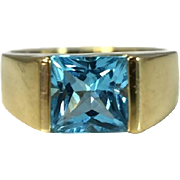 Vintage 14k Gold Swiss Blue Topaz Ring Bezel Set Princess Cut Incredible Color
