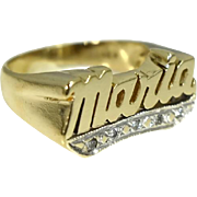 Estate 14k Maria Ring in bold Gold Setting 6.7g Vintage
