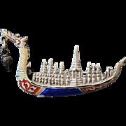 Silver Enamel DRAGON Boat Brooch w Dangle Charm Vintage Sterling