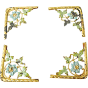 ENAMELED Gilded Frame Corners Antique