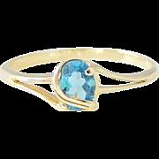 Blue Topaz Ring 14k Gold Wrapped Setting