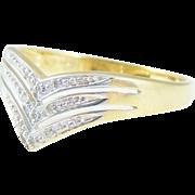Chevron DIAMOND Ring Band Wedding 10k Gold