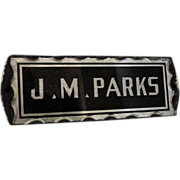 Deco JM Parks Sign - Reversed Painted Bevelled Glass and Foiled Door Sign