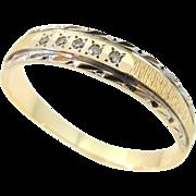 Wedding Band Ring Diamond Accents 14k Gold