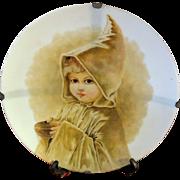 Large Antique Hand Painted Portrait Plate Satin Glass Small Child Folk Art