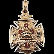Masonic Mason's 14k Gold Fob or Pendant c1900 Emamel 14g