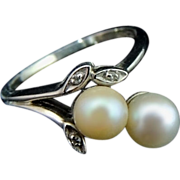 Cultured Pearl Spray Ring 14k White Gold Diamond accents