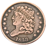 1833 Half Cent Striking Color Super Detail