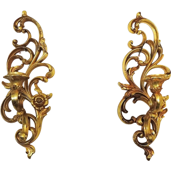 Syroco Wall Sconces Ornate Gold Finish Vintage from premier-antiques on Ruby Lane
