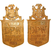 Bronze NY DPW Bridge Plaques 1926 - Ornamental Exterior RARE Architectural