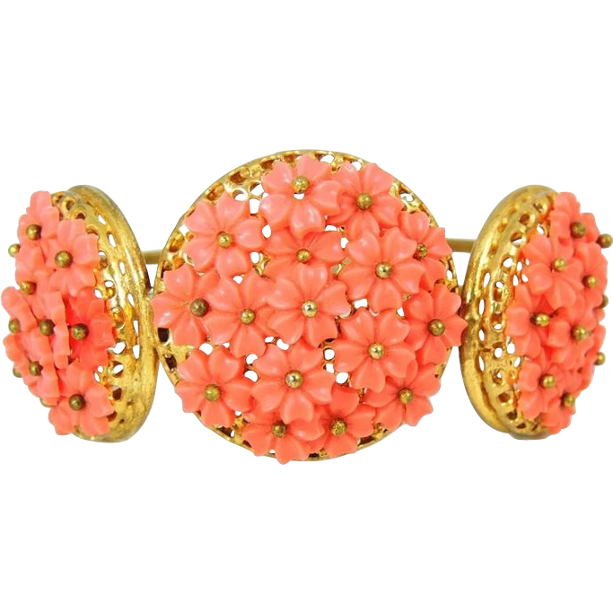 Hinged Bangle Cuff Cuff Salmon Flower Bouquets from premier-antiques ...