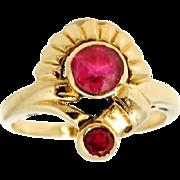 Etruscan Revival Ruby Ring 10k Gold Signed Vintage
