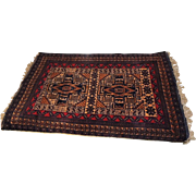 Persian Wool Area Rug Vintage Hand Knotted 50 in X 31 in Vintage Estate