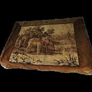 Victorian Horses Tapestry Velvet Border Double Backed Handiwork