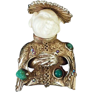 "HAR ""Smiling China-man"" Pin Brooch RARE condition Mid 1950's Coolie Man"