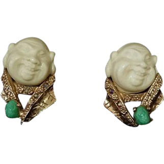 "HAR - ""Smiling China-man"" Earrings Mid 50's Superb Original Condition!!"