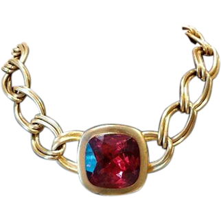 BOLD - Kenneth Jay Lane *Ruby Red Link Chain Necklace*1980's KJL High Style