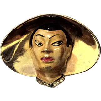 Coro - Chinese Lady wearing a Hat Pin - Patented 1942 - 50 % OFF -