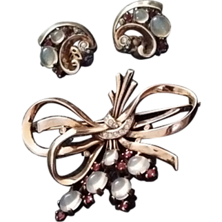 TRIFARI * Sterling Philippe Bow Swirl Pin, Brooch Earrings * 1945 RARE SET *