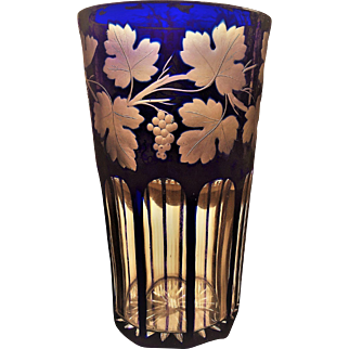 VICTORIAN Cylinder Vase Cobalt Cut to Clear Grape and Leaf Wreath