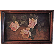 """19thC SIGNED Still Life Roses Oil Painting Canvas Original Frame 15""""x10"""""""