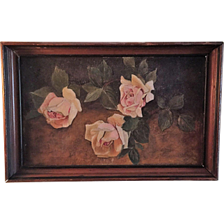 "19thC SIGNED Still Life Roses Oil Painting Canvas Original Frame 15""x10"""