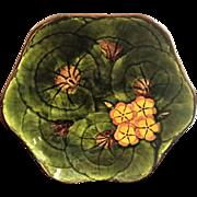 "Lg. 10"" Majolica Bowl c.1949 Cico Germany Hand Painted Geraniums"