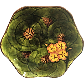 "Lg. 10"" Majolica Bowl c.1949 Cico Germany Hand Painted Geraniums"